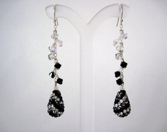 Black and white swarovski crystal earrings   very long