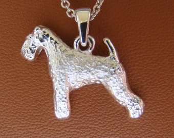 Small Sterling Silver Lakeland Terrier Standing Study Pendant
