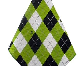 Lime-Black-White Argyle Print Microfiber Golf Towel