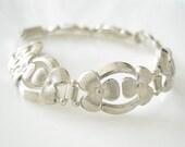 Art Deco DRGM Floral Silver Bracelet, Vintage Silver Bracelet, German Jewelry, DRGM Germany