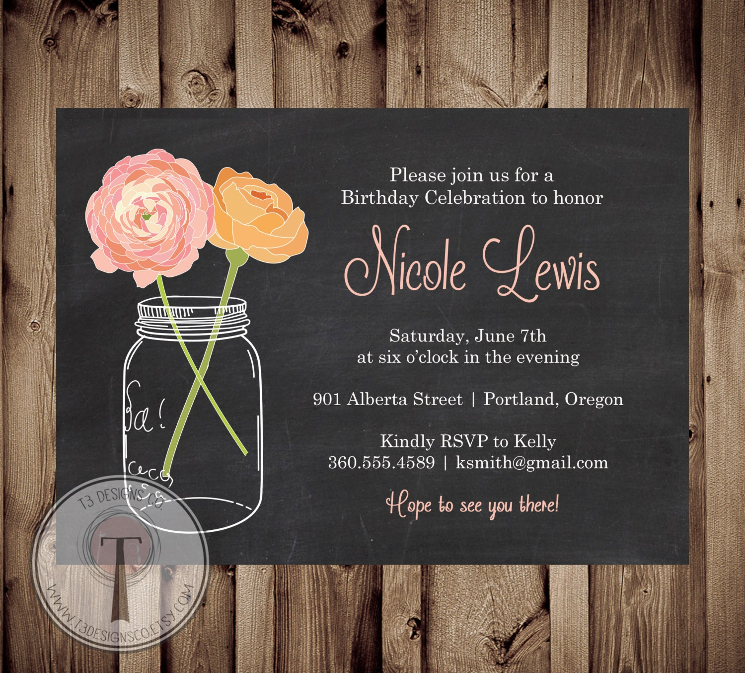 Chalkboard birthday invitation, mason jar birthday invitation ...