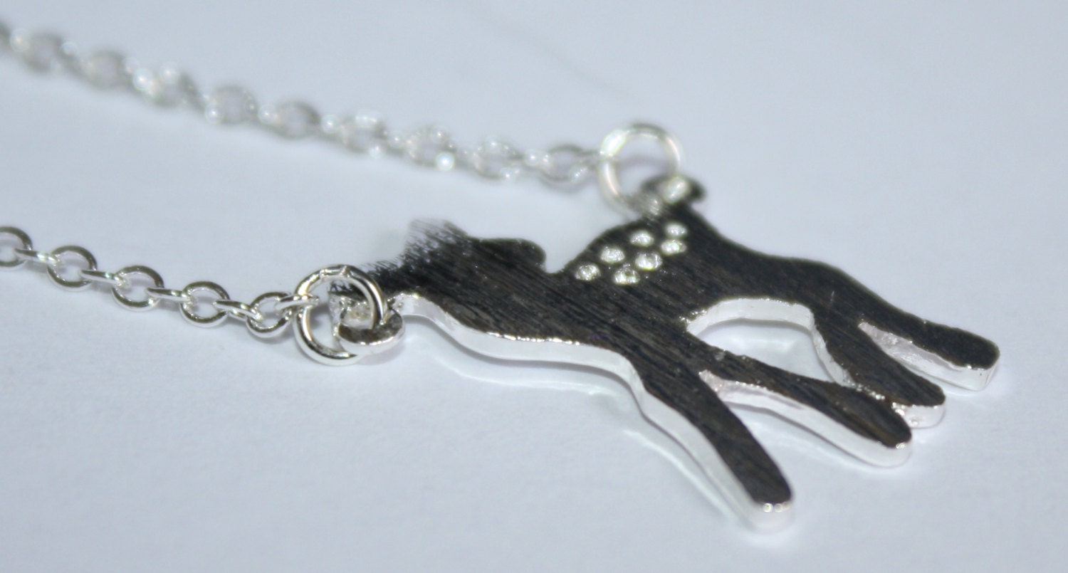 deer necklace charm necklace deer charm mini by