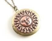 You Are My Sunshine Locket, Large Round Sun Locket, Mixed Metal Locket, 2 Photo Locket