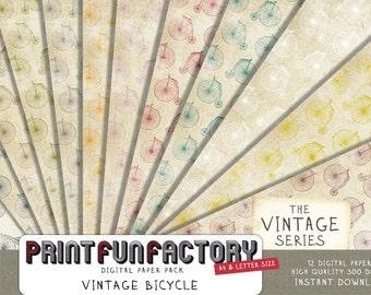 Bicycle digital paper - Vintage bicycle distressed scrapbook paper - 12 digital papers (#134) INSTANT DOWNLOAD