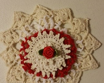 Doily Flower Kit, set of 6 doilies 1 rosebud topper, colors of doilies are 3-cream, 2-white, 1-red, 1 red rosebud .