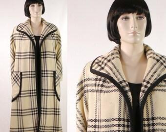Vintage 1960s Women's Dress Coat Black & White Plaid Full Length Coat - 3/4 Length Sleeves - Size 14 - Clutch Coat