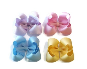 Set of 4 Twisted Boutique Bows (3 1/2 inches) **You Pick The Colors**