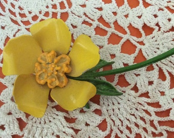 Vintage Enamel Flower Pin, Yellow with Mustard Center Brooch
