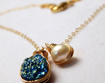 Blue Belle | Wire Wrapped Titanium Druzy and Freshwater Pearl Necklace