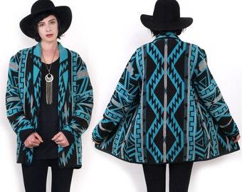 90's Tribal SouthWestern Ethnic Blanket Woven Shawl Collar Cotton Oversized Vintage Jacket M
