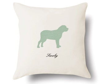Personalized English Mastiff Pillow - Off White 100% Cotton - 18x18 -  Name or Text Embroidered - Pet Silhouette - 4 Color Choices
