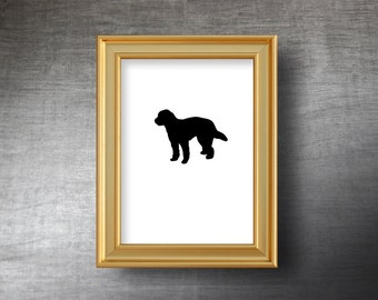 GoldenDoodle Wall Art 5x7 - UNFRAMED Hand Cut GoldenDoodle Silhouette Portrait - Personalized Name or Text Optional