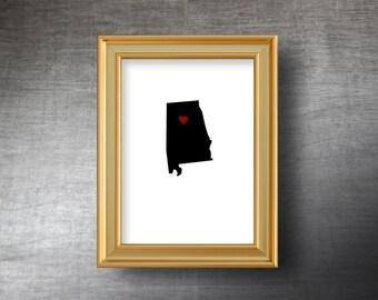 Alabama Map Art 5x7 - UNFRAMED Die Cut Silhouette - Alabama Print - Alabama Wedding Gift - Personalized Text Optional