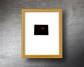 Colorado Wall Art 8x10 - UNFRAMED Die Cut Silhouette - Colorado Print - Colorado Wedding - Personalized Text Optional