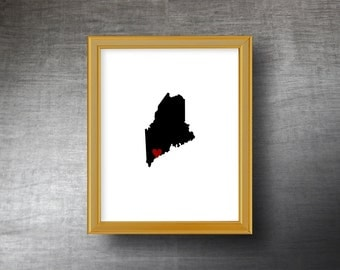 Maine Wall Art 8x10 - UNFRAMED Die Cut Silhouette - Maine Print - Maine Wedding - Personalized Text Optional