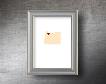 Oregon Map Art 5x7 - 4 Color Choices - UNFRAMED Die Cut Silhouette - Oregon Print - Personalized Text Optional