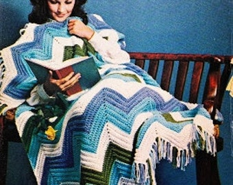 Crochet Chevron Afghan Pattern - Vintage Zig Zag Crochet Pattern - PDF Instant Download - Fringe Blanket Throw - Digital Pattern PDF