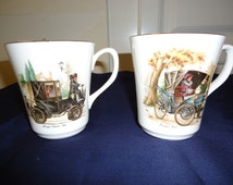 Pair of Cups Featuring Turn of the Century Electric Cars; 1894 Peugeot & 1904 Kreiger Electric, Crown Sussex England, Mint Condition