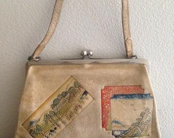Purse, Leather Embossed Purse, 1940s Asian, Vivid Colors, Mt Fuji