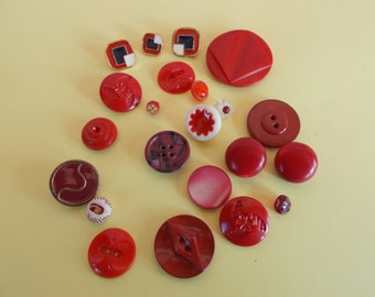 Vintage Red Button Lot