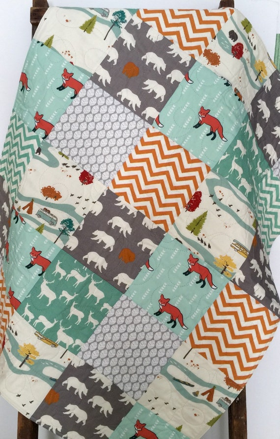 Baby Boy Quilt Gender Neutral Patchwork Fox Bear By Coolspool