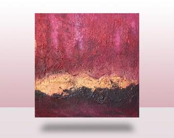 Original Pink, Black, & Gold Abstract Painting