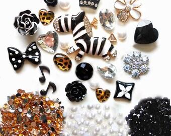 Sale -- DIY 3D Zebra Bling Bling  Kawaii Resin Flatback Decoden Cabochons Cell Phone Case Deco Kit