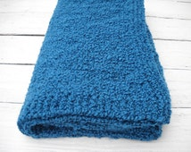 Teal Large  Throw   Home Decor Teal Afghan - Boucle Knitted Blanket - Beautiful Couch Throw - Handmade Blanket - Teal Color Large Afghan