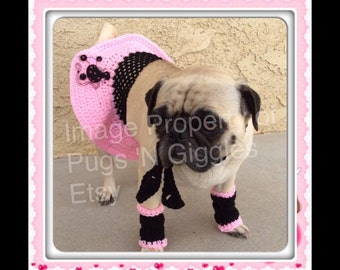 Pugs-Dresses for Dogs-Poodle Skirt-Legwarmers for Dogs-Pugs-Pug Outfits-Pug Clothing-Crochet