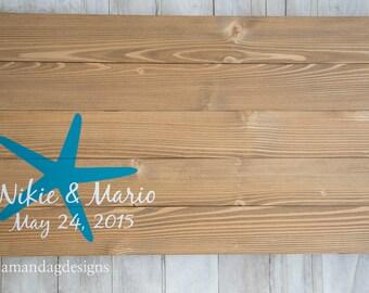 Starfish Wedding Guest Book Alternative Wood Sign