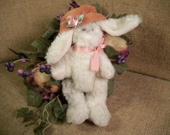 "White Bunny Rabbit 6"" Plush Stuffed Animal Vintage 1995 Boyd's Archive Series Collectible Easter Spring Home Decor"