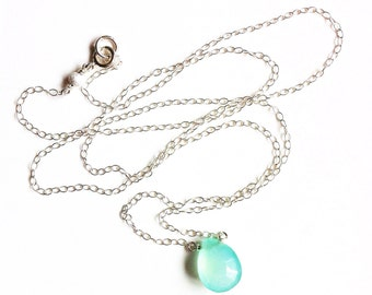 Mermaid's Teardrop Turquoise Chalcedony and Sterling Silver Necklace //Silver Pendant //Turquoise pendant //gifts ideas /gemstone jewellery