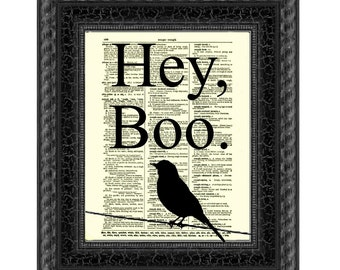 Hey, Boo Quote Printed On An Upcycled 1897 Dictionary Page, Gift For Book Lovers, Literary Art