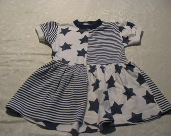 Vintage - mini car  logo - Stars and Stripes Dress  for 2 year old