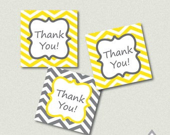 Gray and Yellow Chevron Printable Thank you Tags - Printable PDF - Instant Download - Immediate Download