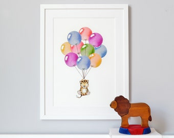 Bright Balloon Bunch, UNFRAMED Nursery Art Print, Children's Picture, Kid's Decor, Baby's bedroom, Illustration drawing painting