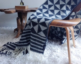 SALE!!! Geometric 100% Wool Jacquard Blanket in Black and White
