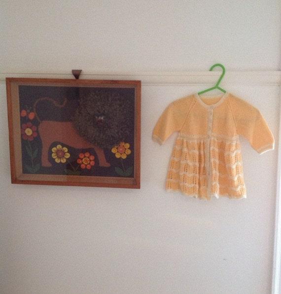 Vintage baby knitted matinee coat orange handnit cardigan chevron baby shower gift