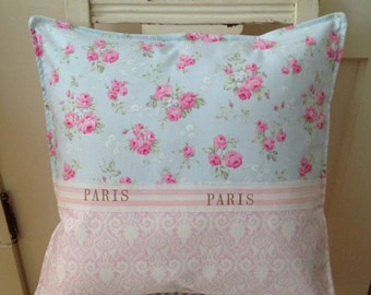 French Country Pillow Shabby Chic Paris Apartment Sham, Decorative Pillow, Accent Pillow, Pink Rose Pillow, Blue and Pink Rose Pillow, Shams