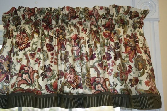 Legacy Hampton Court Jacobean Green Red Floral Toile Valance