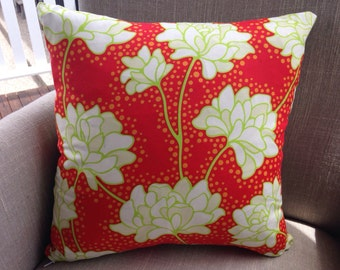 "Heather Bailey Pop Garden ""Peonies in Red"" 45cm square cushion cover/pillow with EST linen backing"