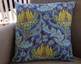 """Amy Butler Soul Blossoms """"Temple Tulips"""" in blue with a french linen backing fabric"""