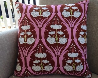 """Amy Butler Soul Blossoms """"Passion Lily"""" in Mulberry with a backing fabric of french linen cushion cover/pillow 45cm"""