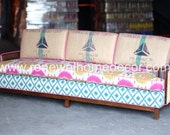 """ON SALE and Available - """"Vintage Mid Century Sofa"""" Add a vibrant pop of color to your home with this amazing sofa - 300 OFF. Hurry only 1"""
