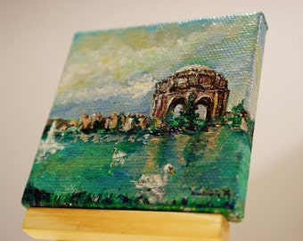 "Palace Of Fine Arts At San Francisco Painting by marinelaArt - Acrylic Fine Art Painting on 3"" x 3"" Large Canvas Paintings"