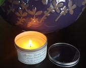 Massage Candle, Soy Wax, Sweet Almond Oil, Your Choice of Fragrance, 8 oz. Tin with Clear Lid,