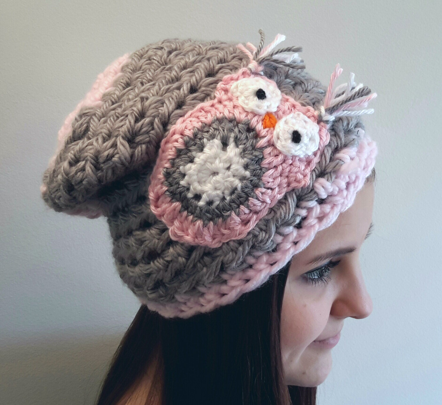 Crochet gray and pink owl slouch hat. beanie. Made by Bead Gs