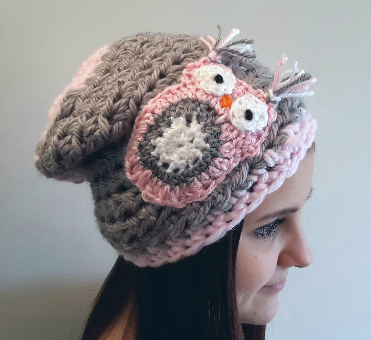 Crochet Chunky Owl Hat Pattern : Crochet gray and pink owl slouch hat. beanie. Made by Bead Gs