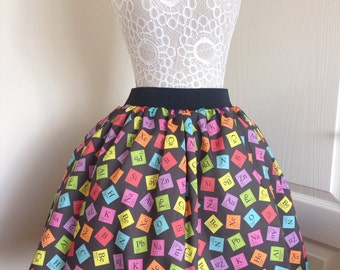 Ladies or girls Topsy Turvey Periodic Table full skater style skirt