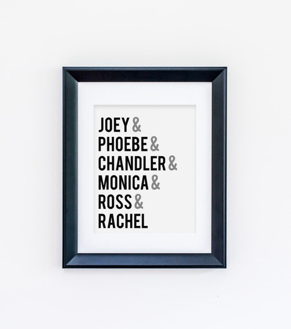friends wall art friends tv show joey phoebe by sushiandqueso. Black Bedroom Furniture Sets. Home Design Ideas